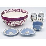 Group of English China, Including Sunderland Lustre Bowl and Wedgwood Jasperware