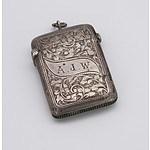Monogrammed and Engraved Sterling Silver Vesta, Birmingham 1900