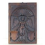 Renaissance Carved Walnut Panel Depicting a Winged Angel, Probably 16th Century