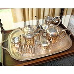 Silver Plate Tea and Coffee Service Including Hardy Bros Toast Rack and Walker and Hall Tea Pot