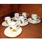 English Hammersley and Co. Aviary Themed Demitasse Setting for Five