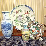 Group of Contemporary Asian Ceramics Including Large Chinese Dish with Bird and Peony and Hardwood Stand