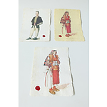 Three Prints of Macedonian National Dress on Handmade Paper