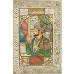 Indian Miniature Paintings, Finely Drawn Portraits of Shah Jahan and Mumtaz Mahal, Gouache and Ink on Paper, Calligraphy Verso, Probably 20th Century