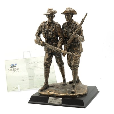 Limited Edition Gibson Cast Resin Silent Soldiers, Shoulder to Shoulder Figure, 501/5000