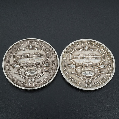 Two 1927 George V Parliament House Florins, 92.5% Silver