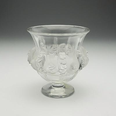 French Lalique Dampierre Sparrow Crystal Vase
