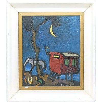 Jean Roger (French 1924-) Gypsy Caravan Oil on Board