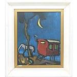 Jean Roger (French 1924-) Gypsy Caravan Oil on Board