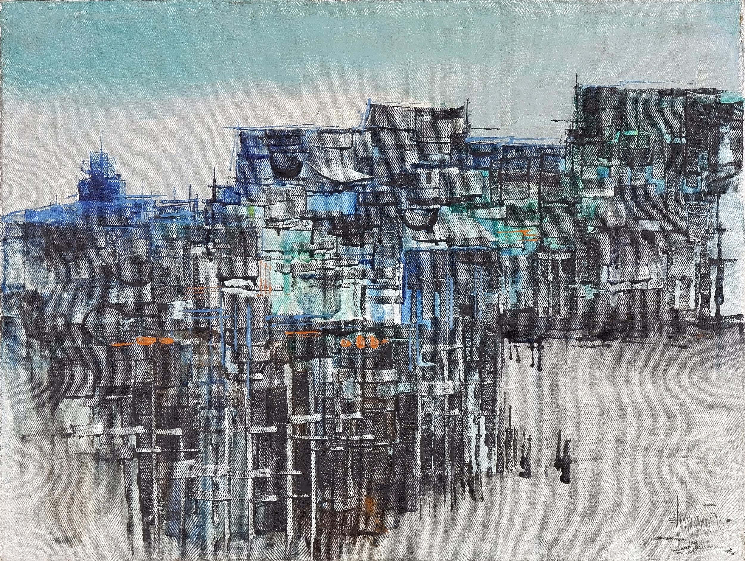 'Eddie Sarmiento (Philippines 1940-) Abstract Pole Village, Oil on Canvas'