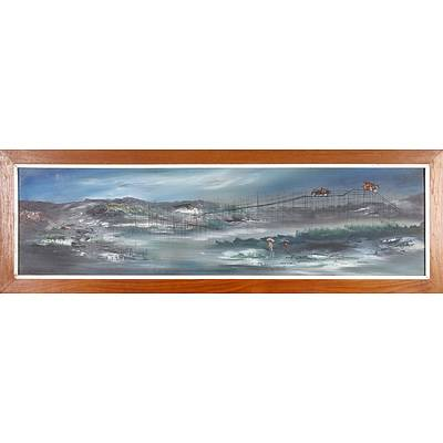 South East Asian Oil on Board, Fishing Camp, Probably Philippines