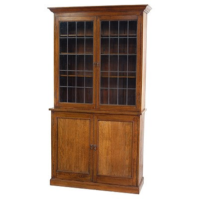 Antique Oak Two Piece Bookcase with Leaded Glass Panes Circa 1900