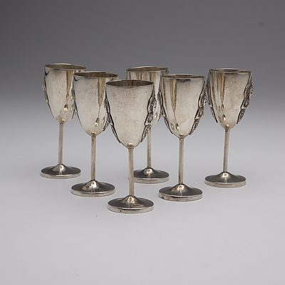 Set of Six Thai Sterling Silver Liqueur Goblets, 312 Grams