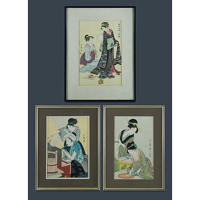 Kitagawa Utamaro (Japanese 1753-1806) Three Woodblocks, 20th Century Editions