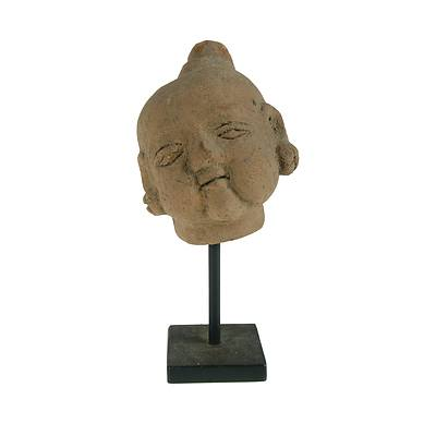 South East Asian Terracotta Buddha Head On Display Stand