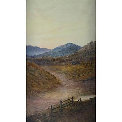 DISTON James Swinton (1857-1940) Two Works, Australian River Gorge & Road to a Farm
