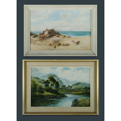 LANGLEY William (b.1929) Two Works, River Valley with Cattle & Seaside Landscape