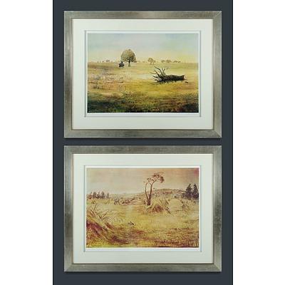 BOYD Arthur Merric Bloomfield (1920-1999) Two Works, 'Cornfield Berwick ' 87/100 & 'Wimmera Landscape (The Reaper)' 54/100