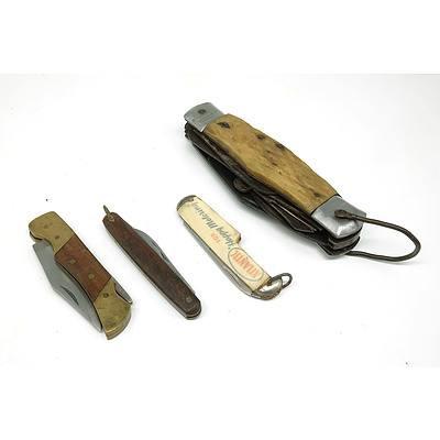 Four Vintage Pocket Knives, Including Atlantic Promotional Knife, Horn Handled Knife and More