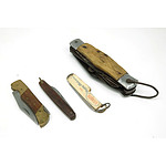 Four Vintage Pocket Knives, Including Atlantic Promotional Knife, Horn Handled Knife and More