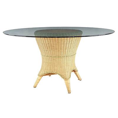 Large Circular Glass Patio Table with Woven Wicker Pedestal Base