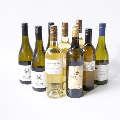 Three 750ml Bottles of Jip Jip Rocks Sauvignon 2013, Four Bottles of Red Claw Chardonnay 2010 and Two other Bottles