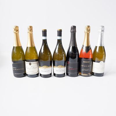 Seven Bottles White Wine Including Swan Bay Brut Rose The Black Pig Sparkling White, the Black Pig Sparkling Shiraz and More