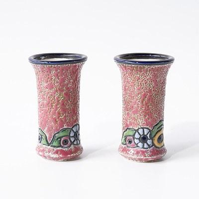 Pair of Czech Amphora Bud Vases