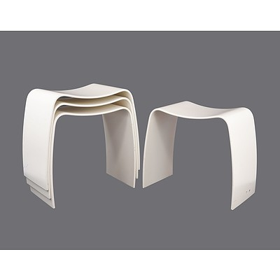 Set of Four Vintage White Askman Danish Design Bentwood Stools
