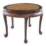 Oriental Carved Timber Tea Table with Five Nesting Stools and Protective Glass Top