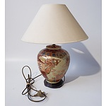 Oriental Polychome and Gilt Ceramic Table Lamp
