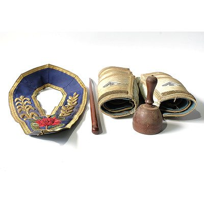 Australian Masonic Regalia, Including Waratah Full Dress Collar, Six Sets of Ceremonial Cuffs, Wooden Baton and Wooden Stamp