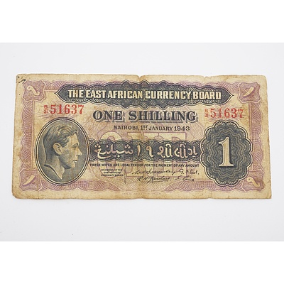 1943 East Africa One Shilling Banknote