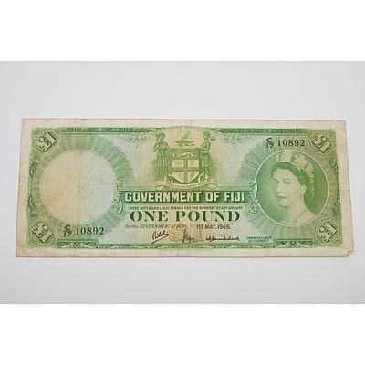1965 Fiji One Pound Banknote