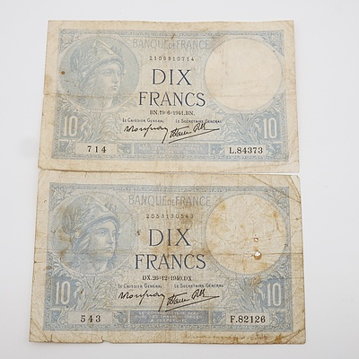 1940 and 1941 WW2 Ten French Francs Nazi Germany Occupation Banknotes