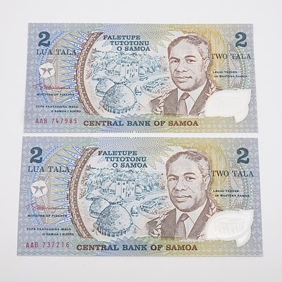 Two 1990 Samoa 2 Lua Tala Banknotes - Uncirculated