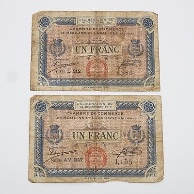 Two France Chambre de Commerce de Moulins et Lapalisse - Un Franc Banknotes