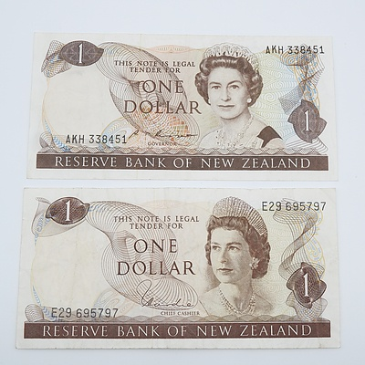 Two New Zealand One Dollar Banknotes