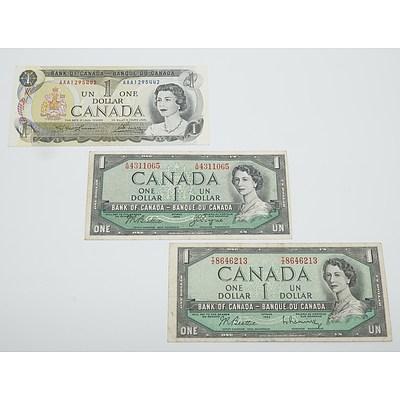 1973 Canada AAA Prefix One Dollar Uncirculated Banknote and Two 1954 Canada One Dollar Banknotes
