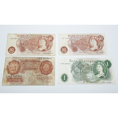 1949 England Ten Shillings, Two 1967 England Ten Shillings and England One Pound Banknote
