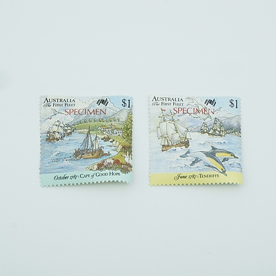 Two 1987 Specimen Australian Bicentennial $1 Stamps