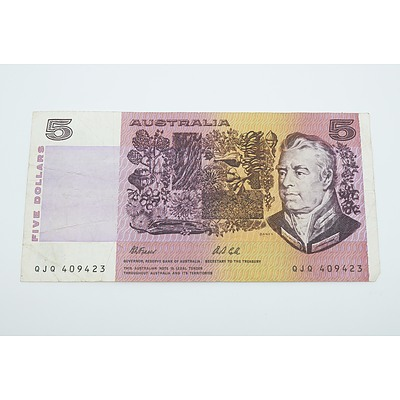 1991 Australian Five Dollar Banknote Fraser/Cole