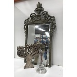 Metal Bronze-painted Mirror, Wooden Tree of Life Carving and a Silver-plated Captain's Bell