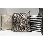 Three Large Brand New Pillows Including Leopard Print
