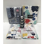 Group of Tablecloths Including Handblock-printed Linen and Moore, Villa Maison Butterfly Napkin Rings and More