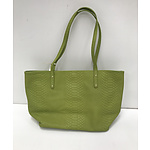 Brand New Gigi New York Lime Green Python Leather Embossed Tote