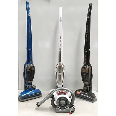 Electrolux Ergorapido 2in1 Cordless Stick Vacuum Cleaners x5 & Black & Decker Dustbuster Flexi