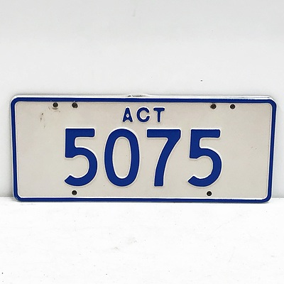 ACT Number Plate 5075
