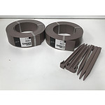 2x Garden Edging Rolls 75mm x 10m Cafe with 6 Pegs