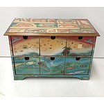 Wooden Storage/Memory Box with Detailed Animals Lacquered Veneer